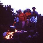 It's Steaming!... a fish boil on the hill!  Lori,Grandma Mark,Diane,Kristin,Gene & Tam,... abt 1977