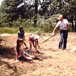Getting ready to put the grass in!.... Tammy, Kristin, Lori & Dad.. abt 1978
