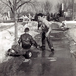 Bob's go-kart.. Gene sort of driving... Bob trying to get out of the way!... 1959