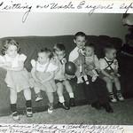 Eugene, Jeff, Linda Schiller, Becky Schiller, Timmy Dinse, Peter Schiller Christmas 1956